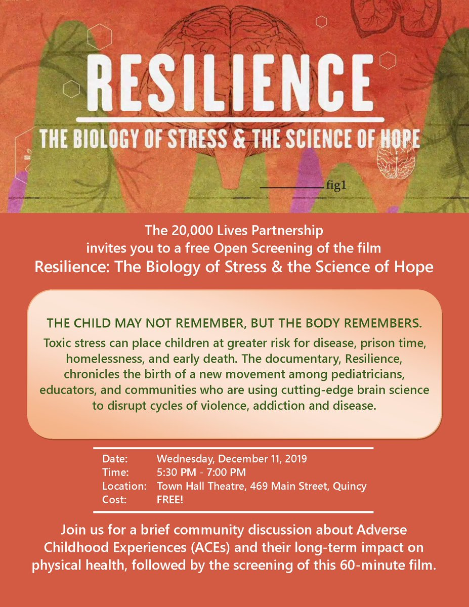 """The 20,000 Lives Partnership invites you to an open screening of the film """"Resilience: The Biology of Stress & the Science of Hope"""". #resilience #openscreening #20000Lives #freepic.twitter.com/wRHlcngaZS"""