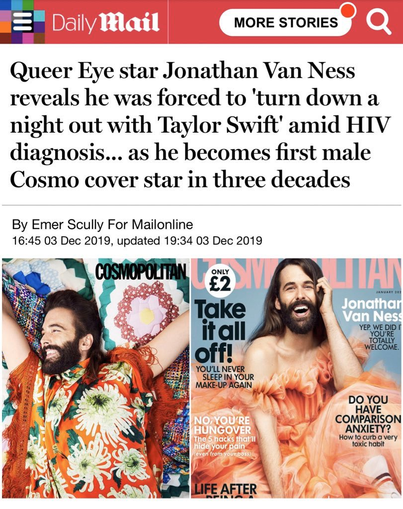 "What a wildly wrong headline. I was diagnosed 7 years ago, more like turned down an event bc of demanding schedule. Let's not sensationalize HIV & BTW I'm non binary. You refer to me as a man twice. First ""non female"" cover star is the correct verbiage @DailyMailUK"