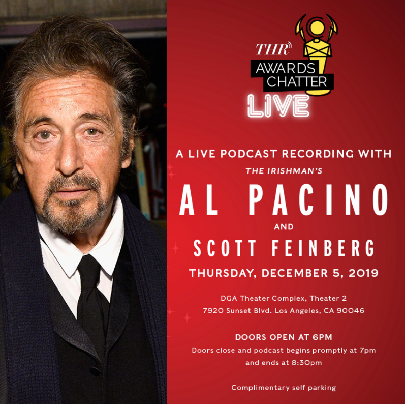 """Don't """"forget about it."""" Join us for an evening with legendary actor Al Pacino to discuss his life and career. Limited seats left. Purchase tickets here: thr.cm/mfnIJu"""