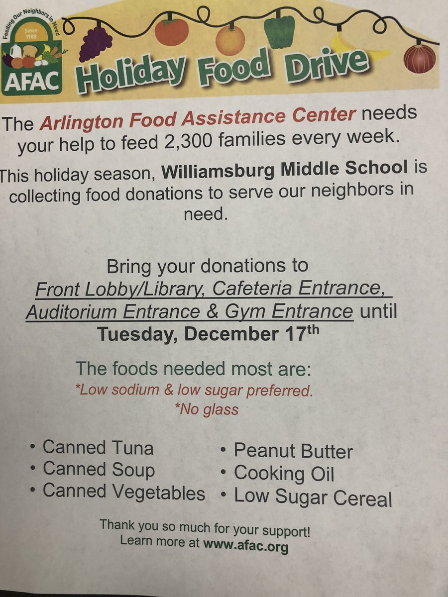 WMS Holiday Food Drive! Let's help <a target='_blank' href='http://twitter.com/WMS_WolfDen'>@WMS_WolfDen</a> fill up these boxes by December 17th. <a target='_blank' href='https://t.co/pjF8cPhQVW'>https://t.co/pjF8cPhQVW</a>