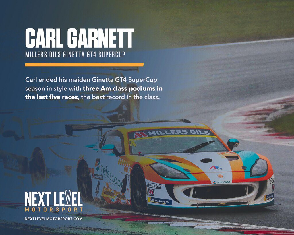 🏆 Every driver aims to end their racing season on a strong note... and that's exactly what @CarlGarnett did!  Check out the graphic below! 🙌  #NextLevelMotorsport #NextLevelDrivers #CarlGarnett #Ginetta #Supercup #2019RacingSeason #Impressive