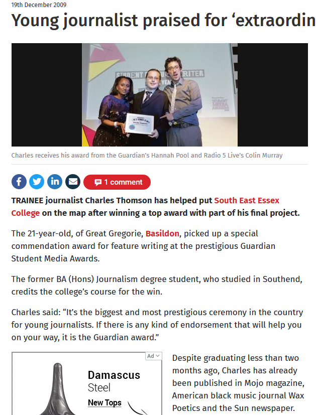 Charles Thomson On Twitter Almost Certainly Typical Snide Deceitful Topix Style Mud Slinging Seven National Journalism Awards Commendations In Two And A Half Years But I M A Shit Journalist Because When I Was A Teenager I Attended
