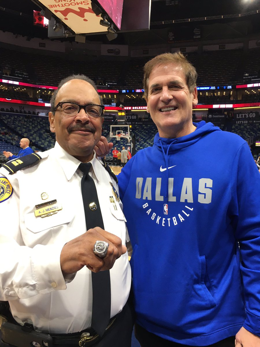 "Story has been told before, but never gets old.2010-11 season, N.O. police captain Andre Menzies tells @mcuban, ""You guys are going to win it all.""Cuban: ""OK.""Menzies: ""If you win it all, do I get a ring?""8 years later Menzies still proudly wearing his $140K title ring."