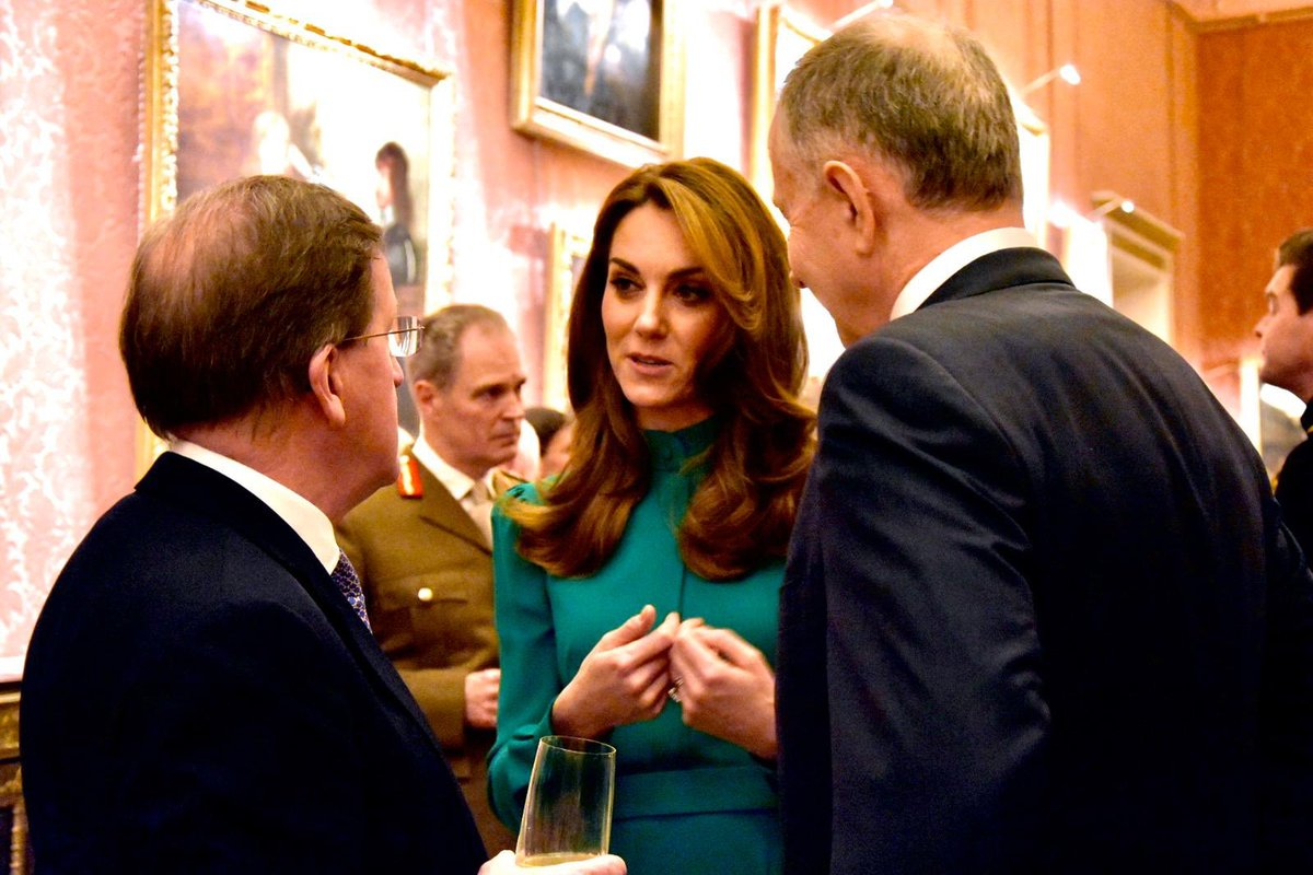 This evening, The Duchess of Cambridge attended a reception hosted by The Queen at Buckingham Palace to mark 70 years of the @NATO alliance.