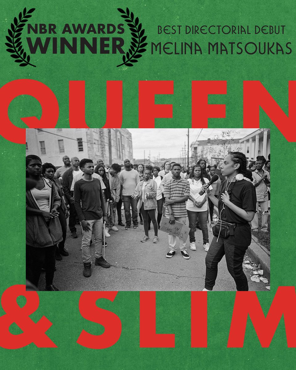 Congratulations to @melinamatsoukas for winning the @NBRfilm Award for Best Directorial Debut. #QueenAndSlim