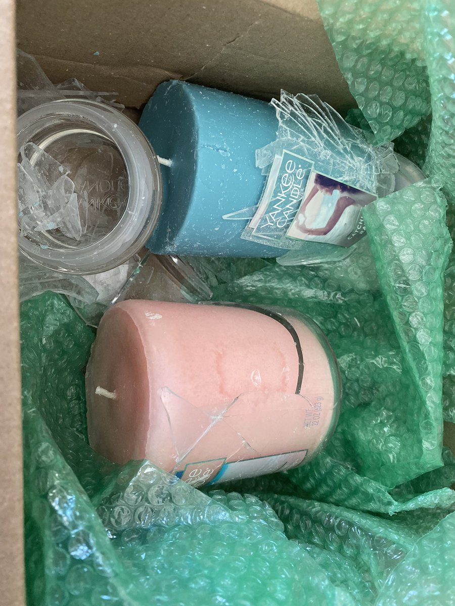Glass candles + bare minimum bubble wrap + not actually wrapping the candles = this @Kohls mess that was delivered. Even opening the package carefully, glass got everywhere. At least it smells good lol #KohlsCyberMondaySweepstakes #kohls<br>http://pic.twitter.com/WPdC6fmvFj