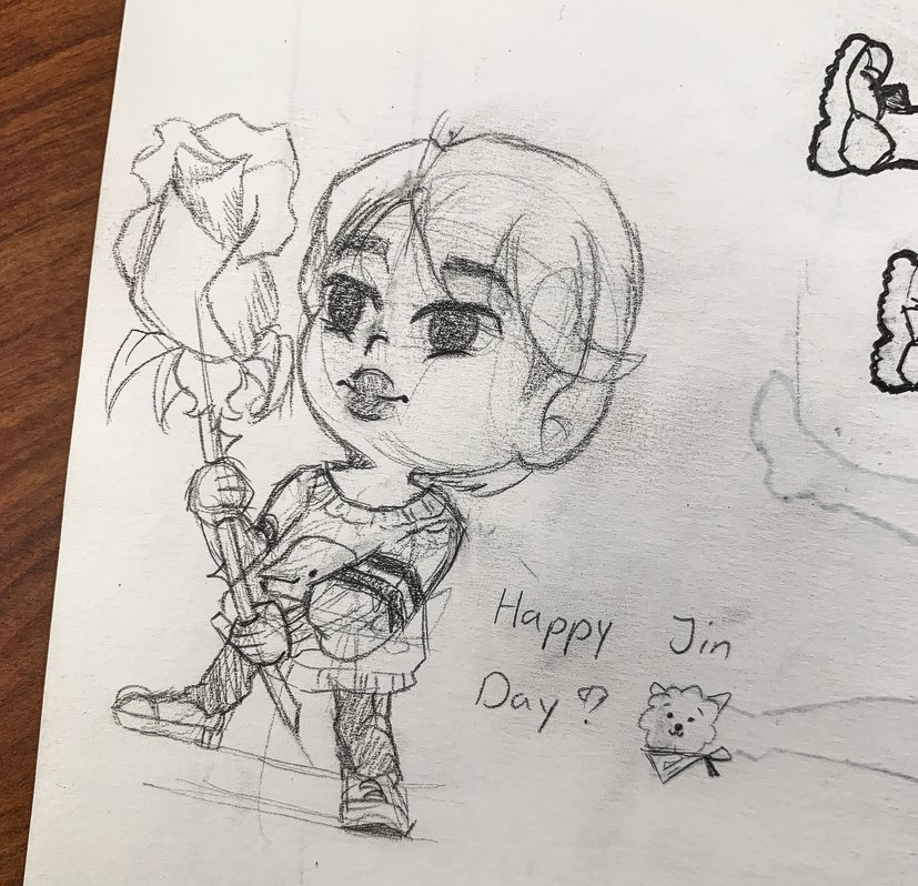 I WISH I CAN DO MORE AND DIGITALIZE THIS AND MAKE IT PRETTY BUT SCHOOLS A PAIN!! So I made this sketch of Jin giving army a rose during class to celebrate our Worldwide ˡᶦᵏᵉˢ ᵗᵒ ʳᵒᵃˢᵗ ᵃʳᵐʸ Handsome Kim Seokjin!! 💜💜💜💜💜 #JinOurDecemberStar #JINDAY @BTS_twt