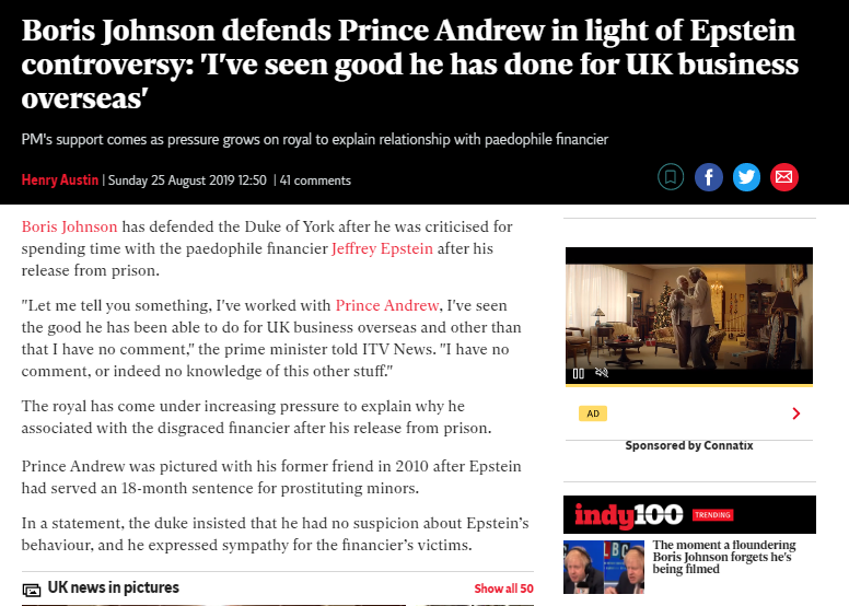 .@BorisJohnson Was wondering if Prince Andrew still has your support...also could you re-introduce @realDonaldTrump 2 the Prince please? .... He seems 2 have forgotten they have Paedophile Jeffery Epstein in common..... #ThingsThatShouldntExist ...Dirty Bastards....😌