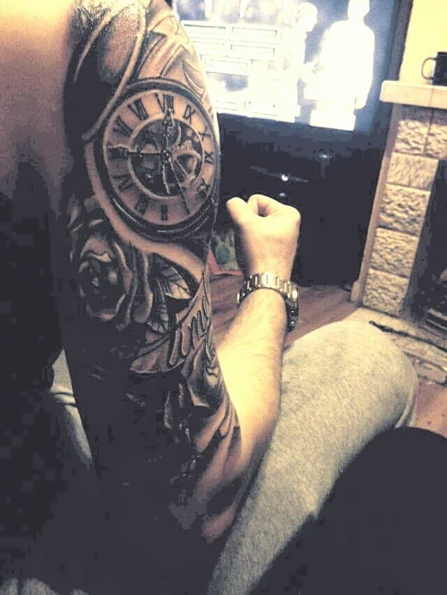 #Tattoo Awesome of the Day: Massive #Mechanical #Steampunk ⚙️ Shoulder/Arm Piece With Clock 🕒 via @ink_passion #SamaTattoo