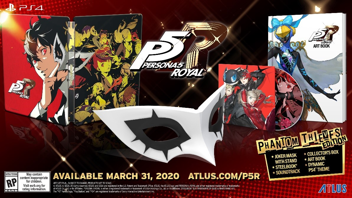 The Persona 5 Royal Phantom Thieves Edition includes a Joker mask, PS4 Theme, art book, and more: play.st/2OLtJNH