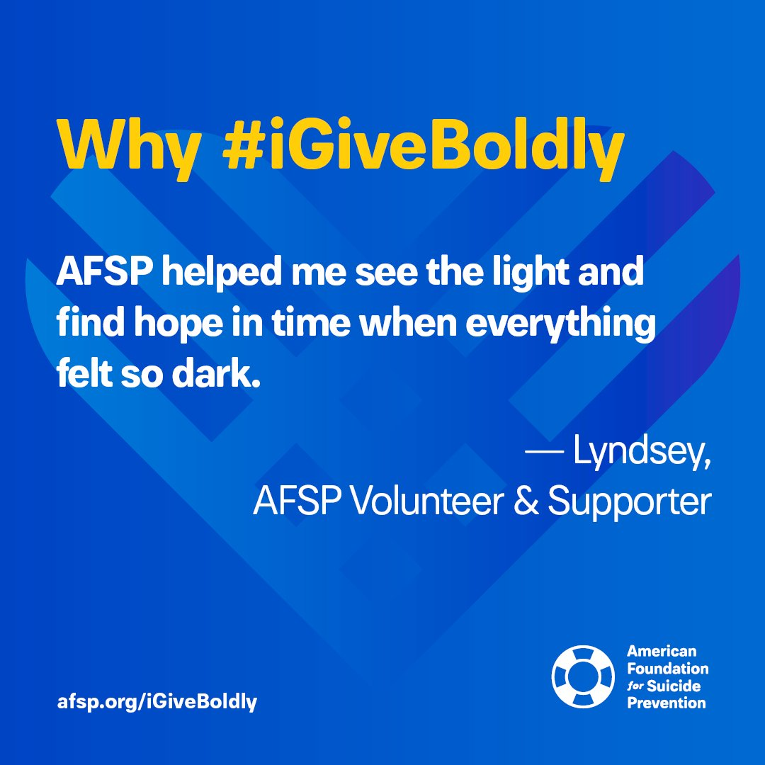 Help us spread hope to those who are struggling with their mental health by donating on #GivingTuesday and declare #iGiveBoldly in support of AFSP! Show your support and donate here 👉 afsp.org/igiveboldly