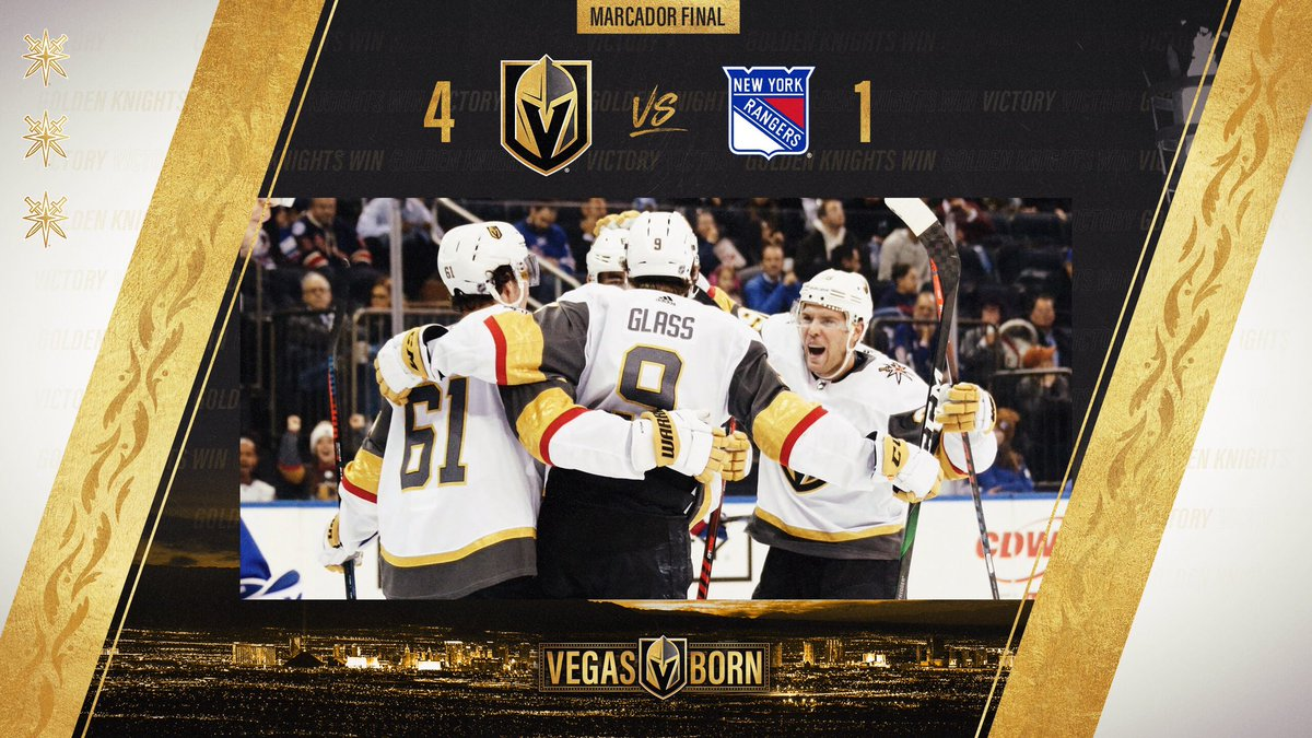 Victoria‼Dos grandes primeros periodos nos dieron una Victoria clara para seguir sumando❗ @LosVGK 4️⃣-1️⃣ @NYRangers_VAVEL Números: #NHLesp #VGK #VegasBorn #BoldInGold #VamosKnights #FuerzaKnights #VGKvsNYR #NYR #NHL
