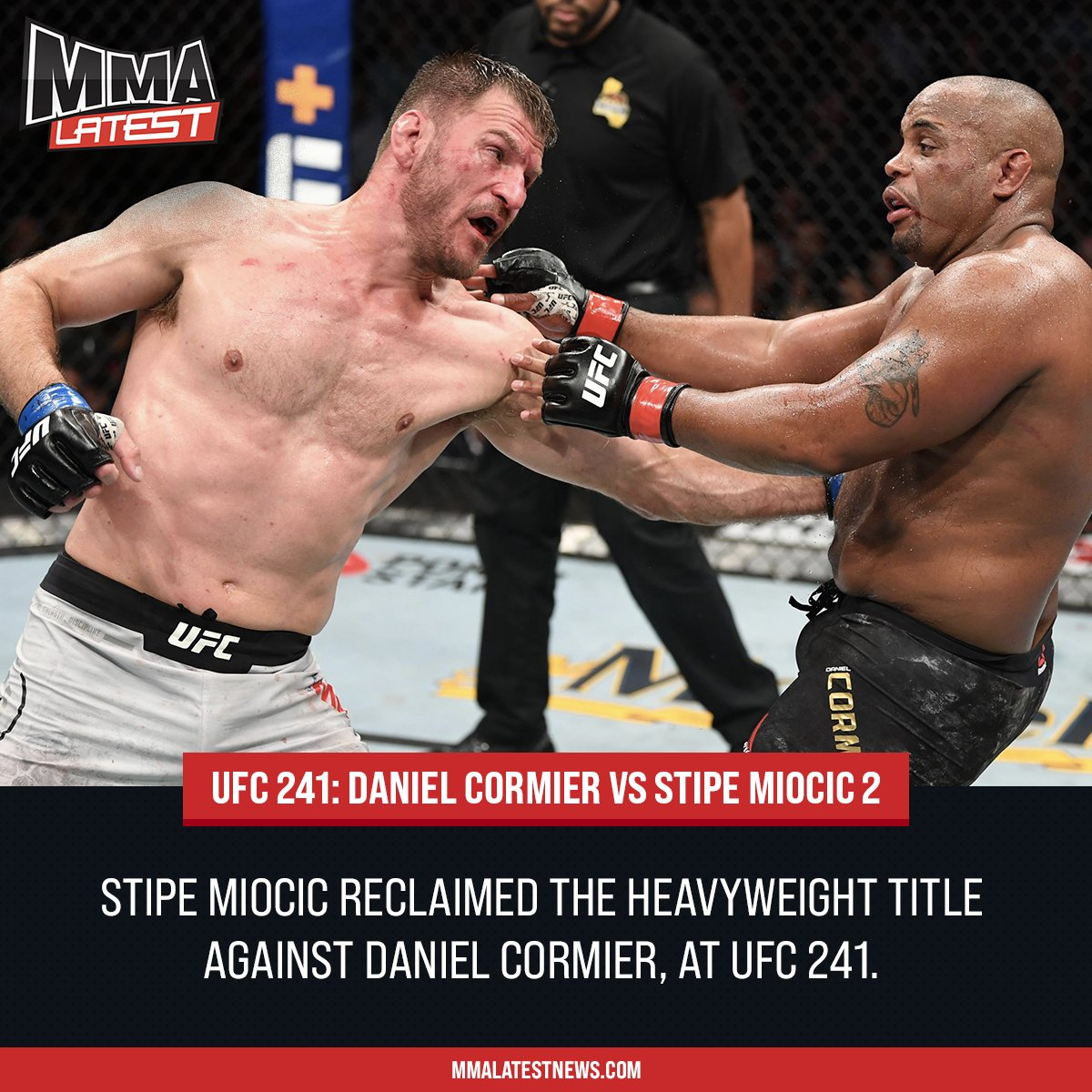 2️⃣3️⃣ Days till Christmas   @stipemiocic reclaimed the Heavyweight title at #UFC241, finishing Daniel Cormier in the fourth round. Both went through war in the second instalment, but who do you think will win the trilogy?   #UFC245 #UFC #MMA
