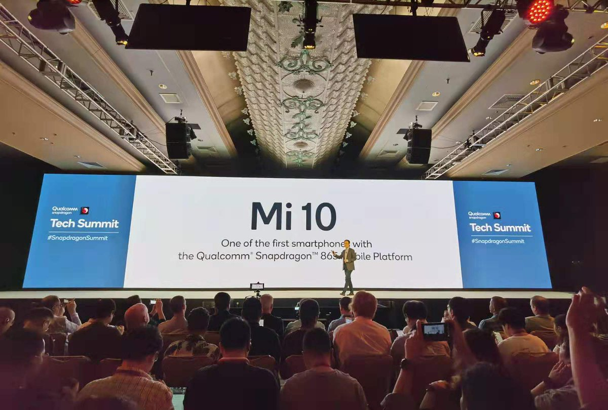 """#Mi10 will be one of the first smartphones to be powered by Snapdragon 865!"" Announced by our Co-Founder & Vice Chairman of the Board, Bin Lin at #SnapdragonSummit @Qualcomm"
