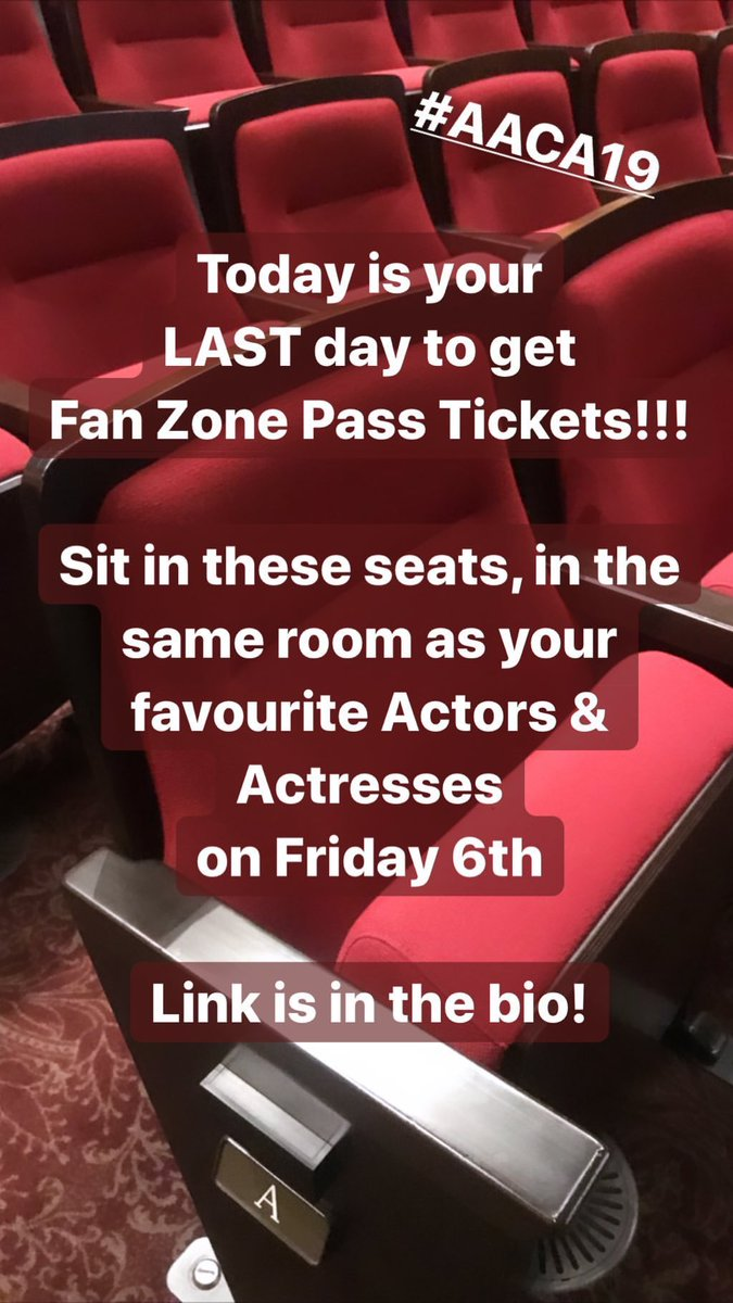 """""""Today is your LAST day to get Fan Zone Pass Tickets! Sit in these seats, in the same room as your favourite Actors & Actresses on Friday!""""     https://www. eventnook.com/event/register /69428/fz  …    asianacademycreativeawards <br>http://pic.twitter.com/AfsvfNZNem"""