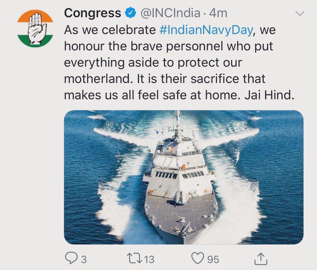 हद है यह तो Dear @INCIndia Picture which you posted today on #IndianNavyDay is of US Navy's Freedom Class Littoral Combat Ship. It's not an @indiannavy ship 60 साल राज कर लिया देश पर Indian Navy Ship नहीं पहचान रहे हो भाई🤔आज USA ship की फ़ोटो लगाई है तो कल इटली वालों की लगा दोगे