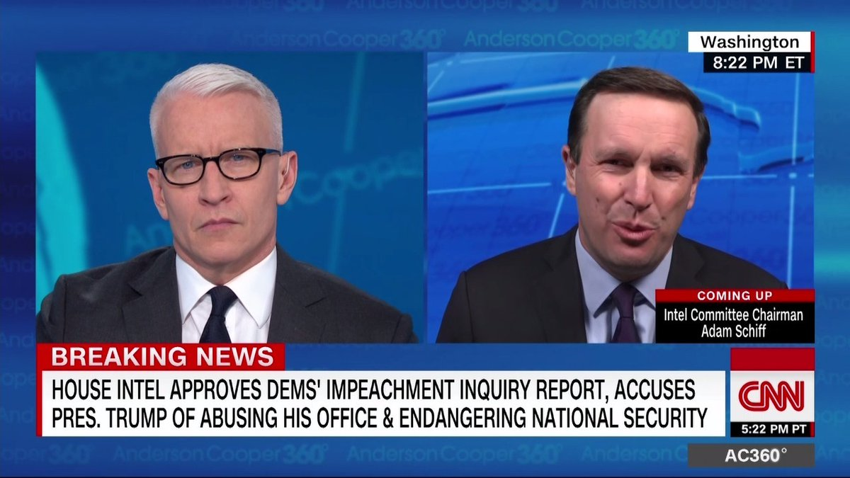 """I don't know why you have the power of impeachment in the Constitution if not to be used for a scheme of this magnitude,"" Democratic Sen. Chris Murphy tells @andersoncooper of the White House's activities in Ukraine."