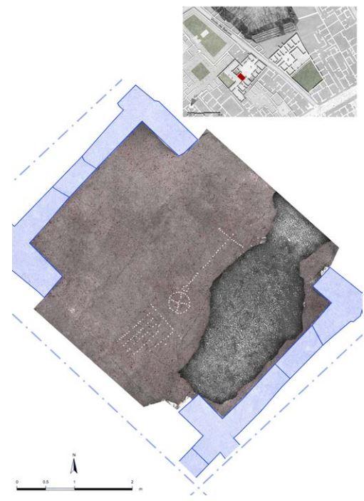 """古代ローマの測量技師の仕事ポンペイ遺跡""""Regio V houses""""(保存状態の良いフレスコ画で話題に)にて測量基準線描いてるタイルを発見。""""グローマ測量""""、ローマ以降は使われなくなったものの中世の文献で言及されている"""