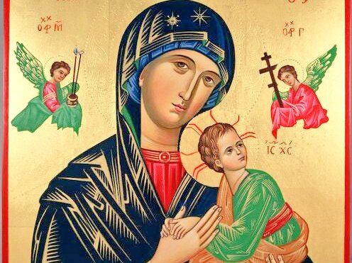Our Mother of Perpetual Help.  You help us with loving care to develop faithful trust. Pray for the #students who are dealing with #final tasks of this semester to have wisdom, knowledge, grace, peace, comfort, and strength from #God.  #CatholicTwitter #MotherMaryPrayForUs <br>http://pic.twitter.com/bodDUQZXMr