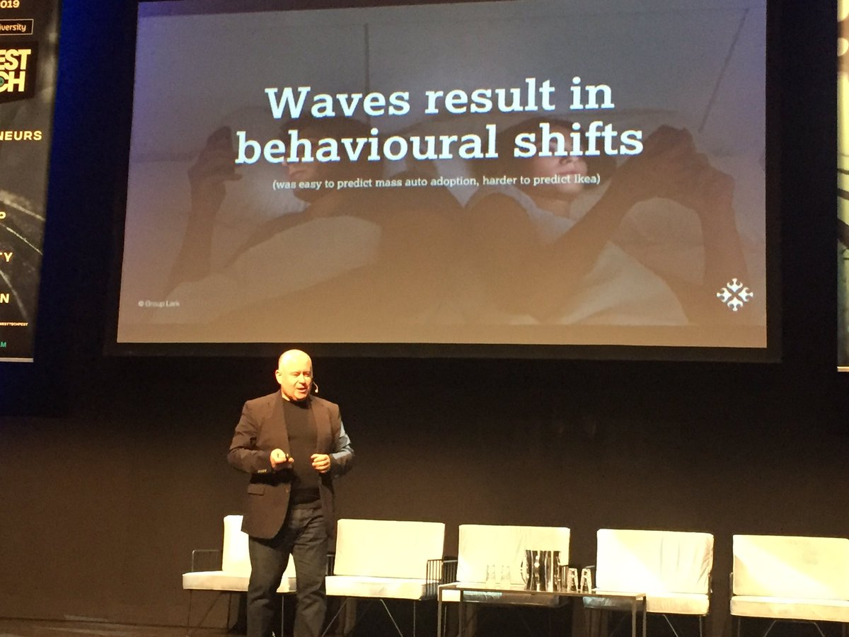 """Andy Lark tearing it up @WestTechFest """"It's the behavioural change consequences that will eat you. Yes, change can be slow, but behavioural change can smash incumbents in a matter of a few months."""" #westtechfest #wtf2019 @kiwilarkpic.twitter.com/jbny8SZZqk"""