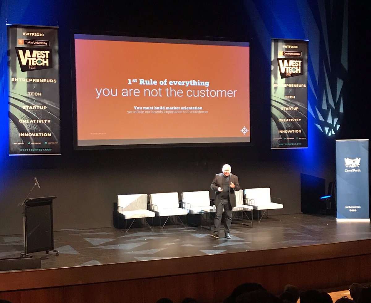 """""""The first rule of everything, you are not the customer"""" @kiwilark explains at @WestTechFest today in regards to #startups and their need to determine their target audience to validate their business model & product #WTF2019 pic.twitter.com/gb76qURN93 – at State Theatre Centre of Western Australia"""
