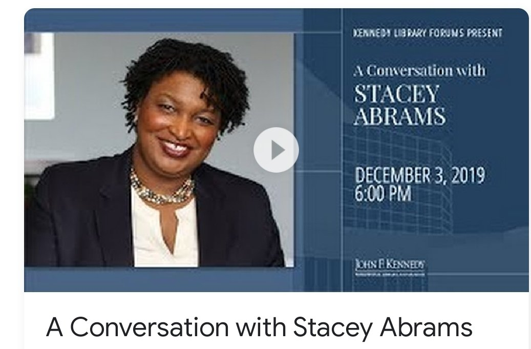 A conversation with Stacey Abrams can be summed up in 4 phrases. Voter suppression, racism, white supremacy and I really won the Georgia Gov race. That's all she talks about. She's an Al Shatpron wannabe. A snake oil peddler.