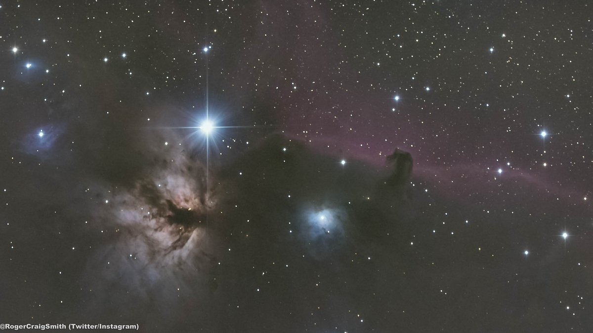 An oldie but a goodie... Heres an image of the Flame nebula and the Horsehead nebula taken a couple years ago. Ive got these (and more targets near Orion) to improve upon this winter. Just need some clear skies. And gloves. And a beanie. And a jacket.❄️