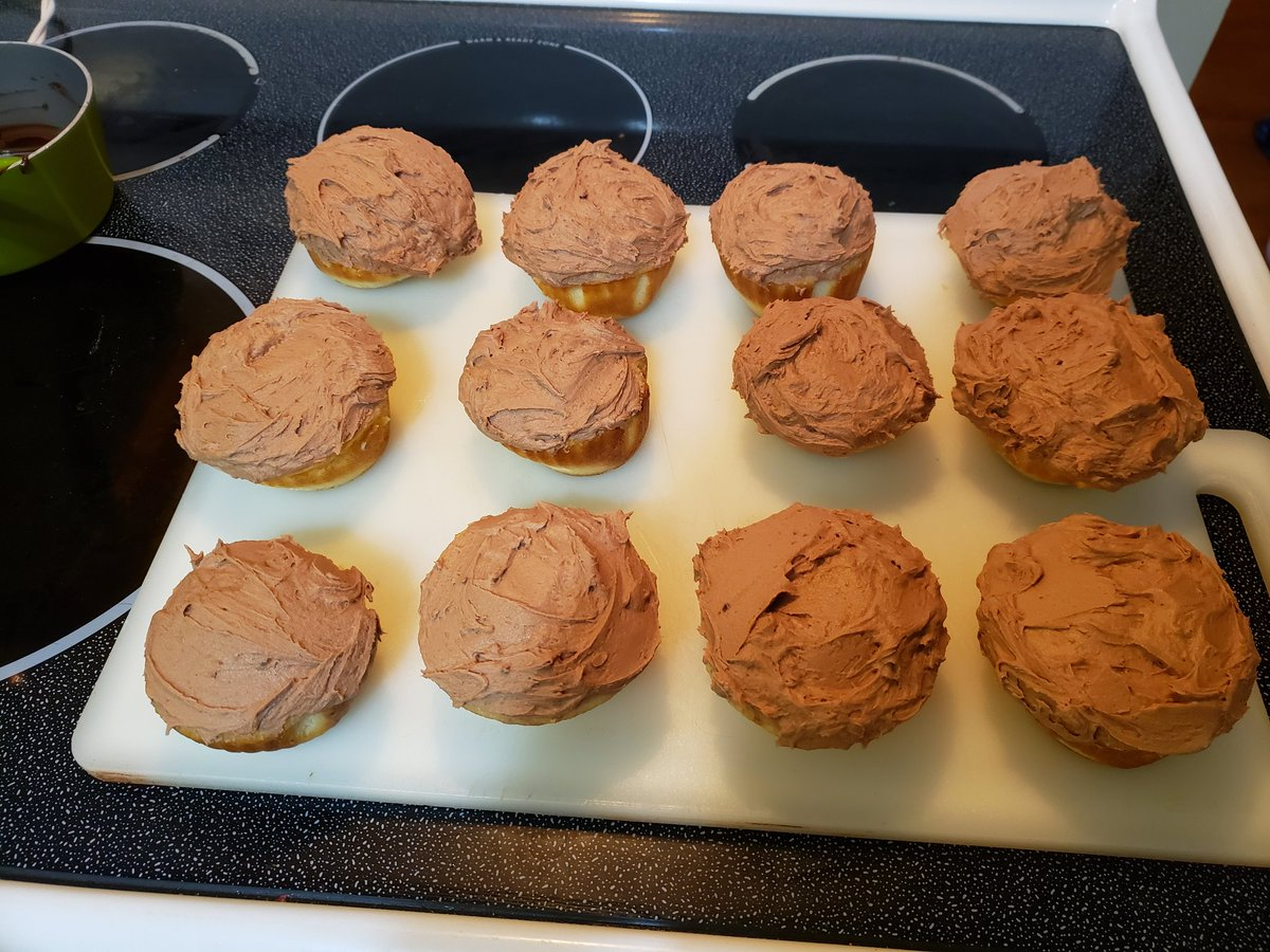 Yellow cake cupcakes with homemade chocolate buttercream frosting