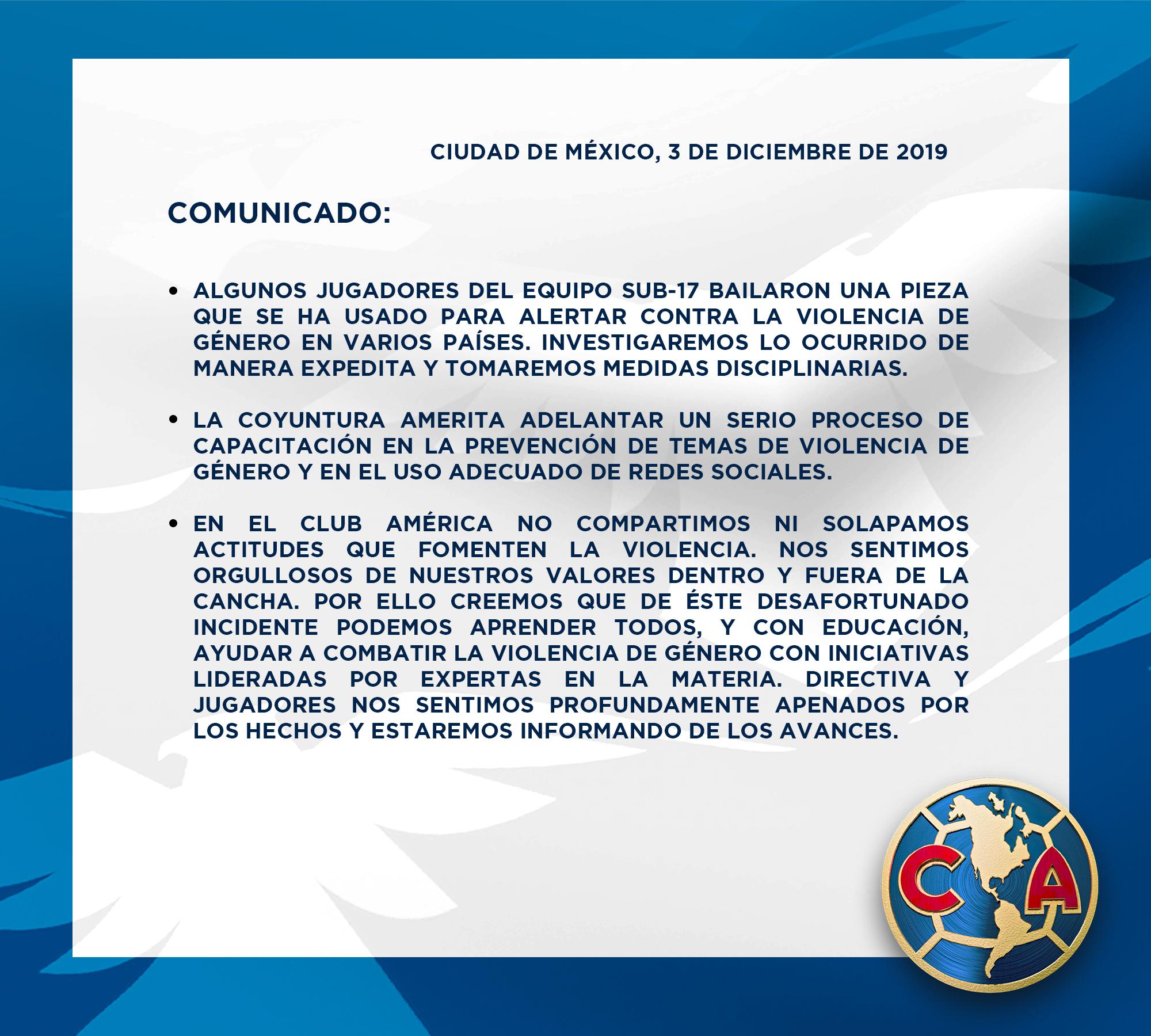 El Club América sancionará a futbolistas que se burlaron de #ElVioladorErasTu