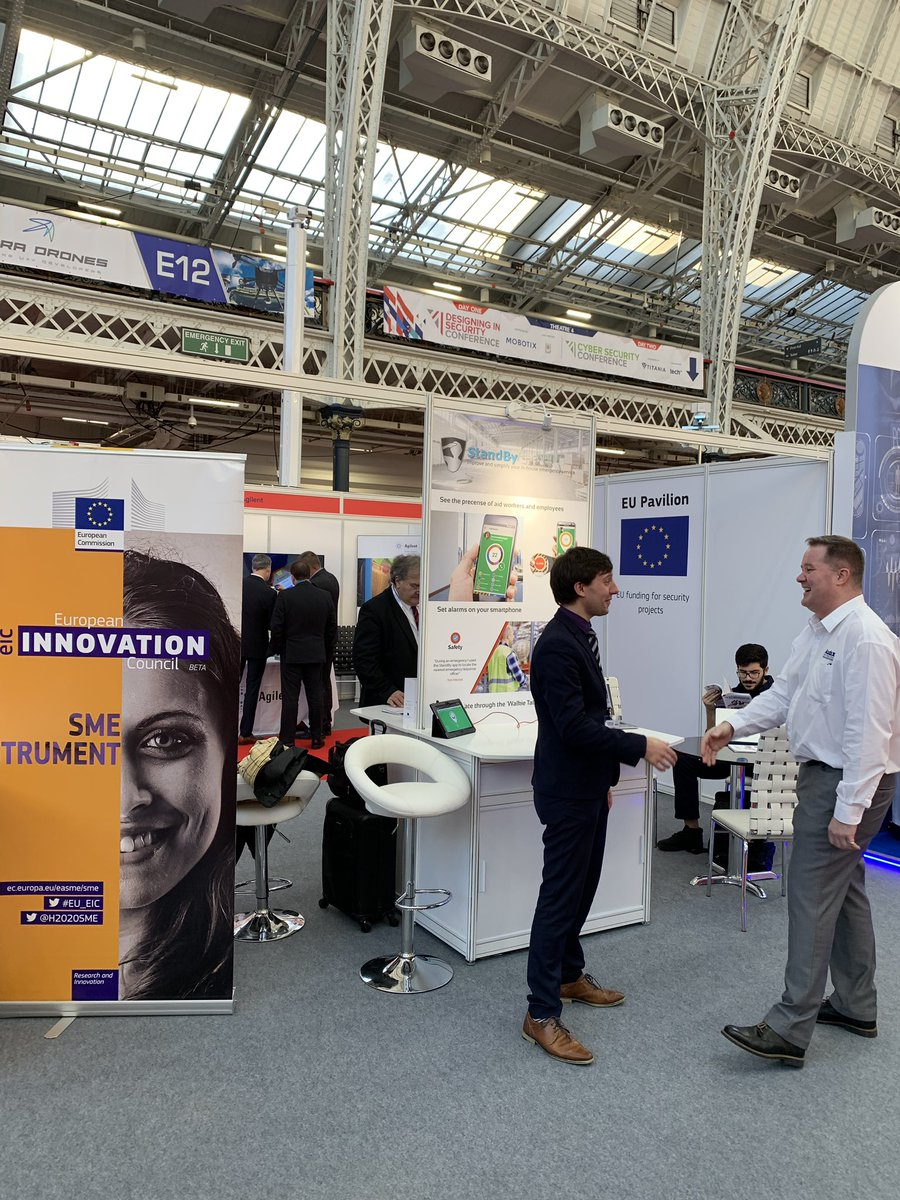 On the second day of the #ISE19 @ISE_Expo don't forget to visit the #EU Pavilion and meet the #security projects funded via the EU programme #h2020 #euEIC #EICAccelerator @standbyapp @LOCARD_EU @RESISTO_project @ARCSARNETWORK