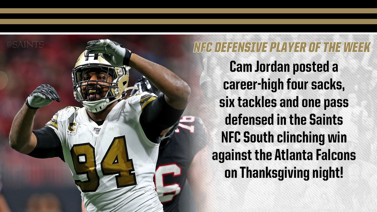 RT @Saints: The NFC Defensive Player of the Week:  @CamJordan94!   ⚜️ Retweet to #ProBowlVote ⚜️ https://t.co/H8P0HiYLUX