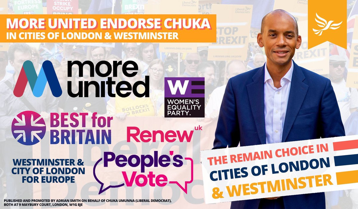 In Cities of London & Westminster @RenewParty & @WEP_UK stood aside for the @LibDems as the best bet to beat the Tories.The biggest #Remain organisations @peoplesvote_uk and @BestForBritain recommend tactically voting @LibDem here. @MoreUnitedUK have also endorsed too! #FBPE