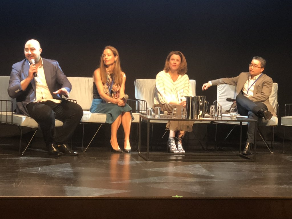 We're at @WestTechFest for a panel on #healthcare tech! Our Director Stakeholder Engagement WA Dr @k8jbrooks @OncoResMedical Managing Director Dr @KathGiles99 & @healthengine Dr Marcus Tan sit w chair by Dr Carlo Bellini - we're proud to be a Bronze sponsor #WTF2019 pic.twitter.com/4OfUu7sDug
