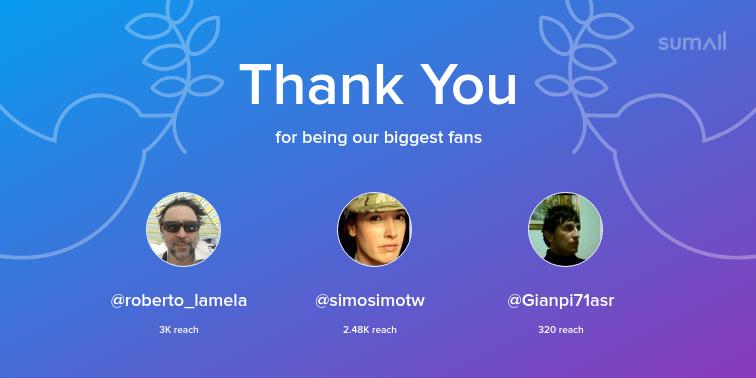 Our biggest fans this week: roberto_lamela, simosimotw, Gianpi71asr. Thank you! via  https:// sumall.com/thankyou?utm_s ource=twitter&utm_medium=publishing&utm_campaign=thank_you_tweet&utm_content=text_and_media&utm_term=aefa4e3b5c57464083b77ce7  … <br>http://pic.twitter.com/FljJZZSQRx