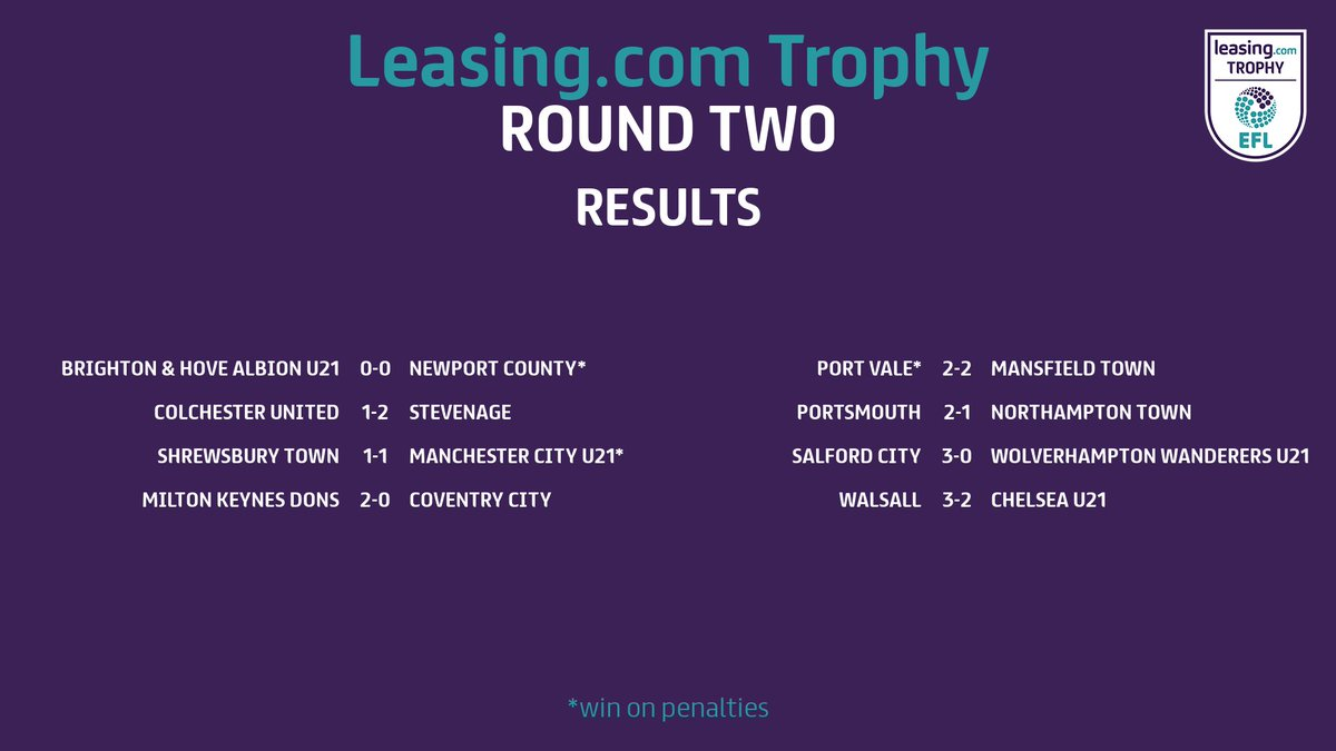 Heres a reminder of last nights full-time results in the Leasing.com Trophy! Theres more to come tonight... #EFL | #EveryGameMatters
