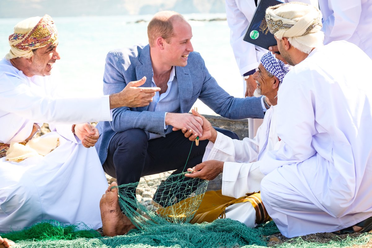 The Duke of Cambridge joined a group of local fishermen alongside traditional fishing skiffs on the beach to hear about how they fish, the challenges to sustainability, and actions being taken to conserve Oman's marine environment. #RoyalVisitOman