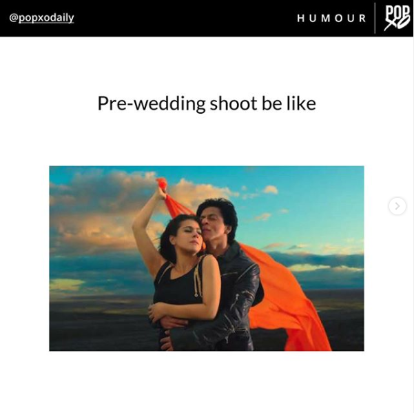 Straight out of a #RomCom! . Sucker for #romance? Grab our 'Romcoms? Yes, please!' t-shirt from the link in bio NOW and join the #POPxoTeeParty! #POPxoDailyMemes #ShahRukhKhan #Kajol #Diwale #Gerua #SRK #PreWeddingShoot @iamsrk @itsKajolD