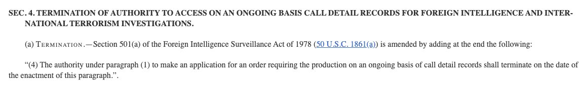 News: Sens. Burr and Warner quietly introduced a bill last month to kill NSA's maligned phone metadata program, while renewing other surveillance provisions unchanged for 8 years.  Burr, the GOP chair of Senate Intel, has been a big backer of the program, so this is significant. <br>http://pic.twitter.com/Jt0U7hKjca