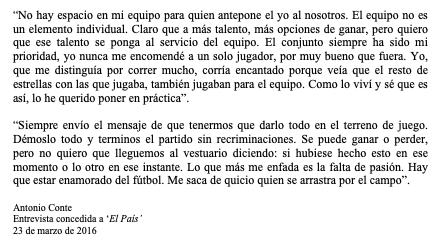 Antonio Conte sobre la importancia de poner el talento al servicio del equipo.