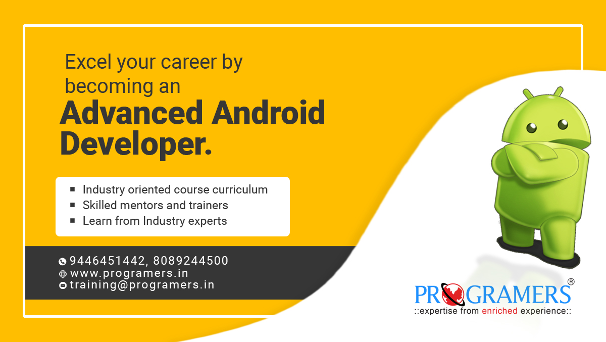 Excel your career by becoming an advanced android developer...  PROGRAMERS.... 4th Floor, Park House Building, Round North, Thrissur-01, Kerala - India. : http:// programers.in /    :info@programersglobal.com :8089244500,9447151442  #androiddevelopment #android<br>http://pic.twitter.com/wFX5OjFhA3