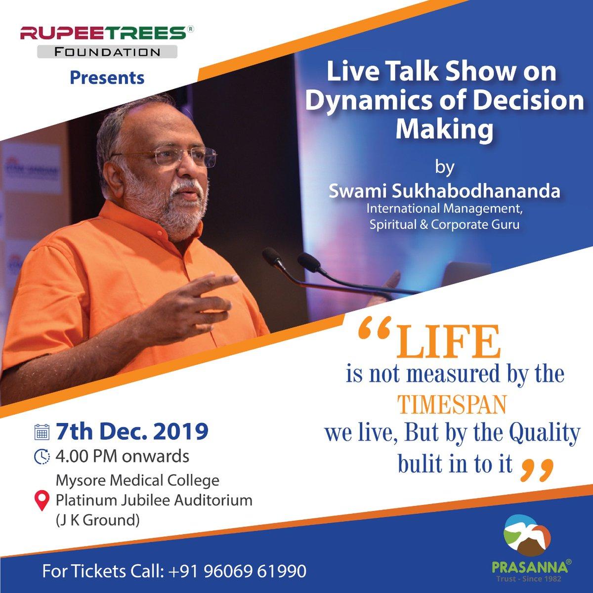 #eventsinmysore #RupeetreesFoundation #swamisukhabodhananda #prasannatrust #mysoreevents #live #dynamics #decisionmakingpic.twitter.com/NzCJEX6NzE