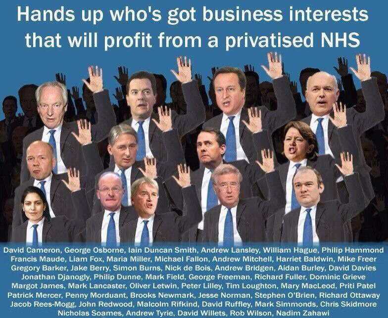 These jolly chaps have all got business interests that will profit from a privatised NHS.