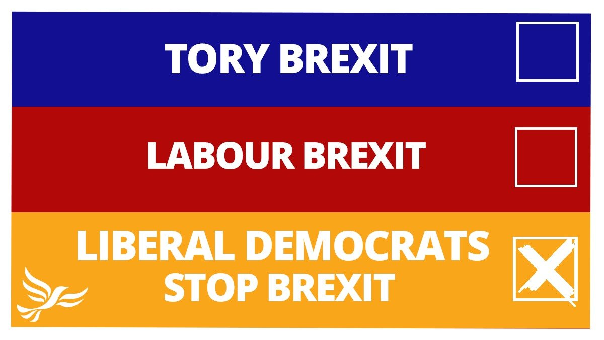 Brexit is a disaster.   It's costing more than we thought, taking longer than we thought & will cause catastrophic damage to our economy, NHS & public services.   Liberal Democrats are clear: we want to #StopBrexit.   Vote Lib Dem & end the chaos  http://www. libdems.org.uk/vote-pledge     <br>http://pic.twitter.com/OkWjxa2Cr2