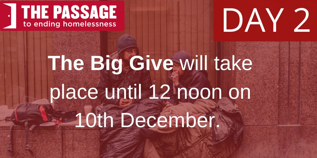 It is Day 2 of The @BigGive! Until 10 December, any amount that you give online will be doubled at no extra cost to yourself. Just click on this link to donate donate.thebiggive.org.uk/campaign/a051r… Help us to support more #homeless people than last Christmas.