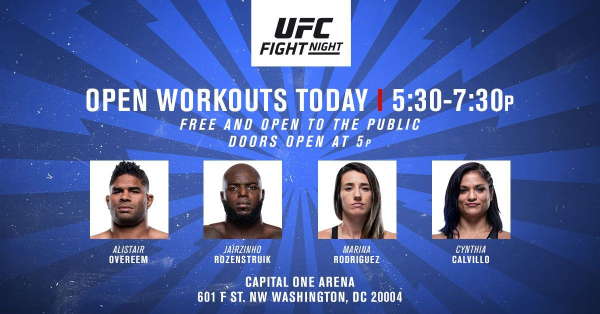 Happening Today! A @UFC Fan Experience you wont want to miss! Get up close and personal during workouts and media scrums with @AlistairOvereem, @JairRozenstruik, @wmmarz and @cyn_calvillo Then get tickets for Saturday's Fight Night here ➡️ https://t.co/BHiaxBhOqX https://t.co/1yr3gW4kBG