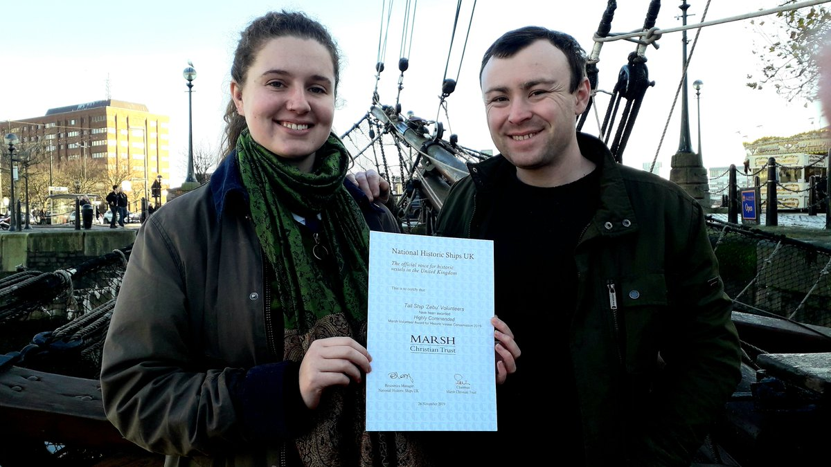 Our amazing Zebu Volunteers have been Highly Commended with a Marsh Volunteers Award for Historic Ship Conservation 2019 -A very big thank you to all our Volunteers and very well done🏅#Volunteering #Liverpool #WednesdayWisdom @NatHistShips @HeritageFundNOR @blue_strata