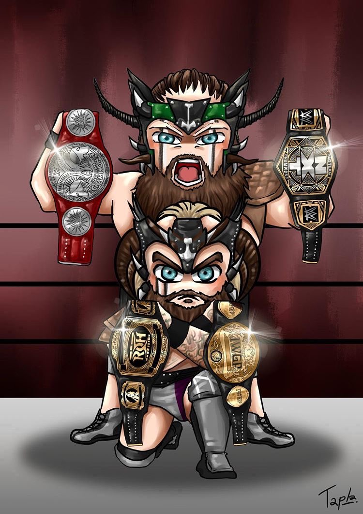 RAW Tag Team Championships.NXT Tag Team Championships. IWGP Tag Team Championships. ROH Tag Team Championships. Thank you for the wonderful #fanart @d_tapla !! #vikingraiders #wwe #raw #nxt #iwgp #roh #tagteamchampions #jointheraid