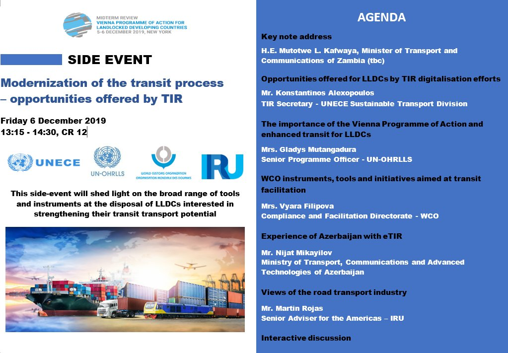 Speeding up border-crossing helps #LLDCs harness #trade + #logistics, shifting from #LandlockedToLandlinked Big potential with digitalization of #TIR Convention, which already reduces cross-border transport times for goods by up to 80% +costs up to 38% 6 Dec side event @ UNHQ👇 twitter.com/UNOHRLLS/statu…