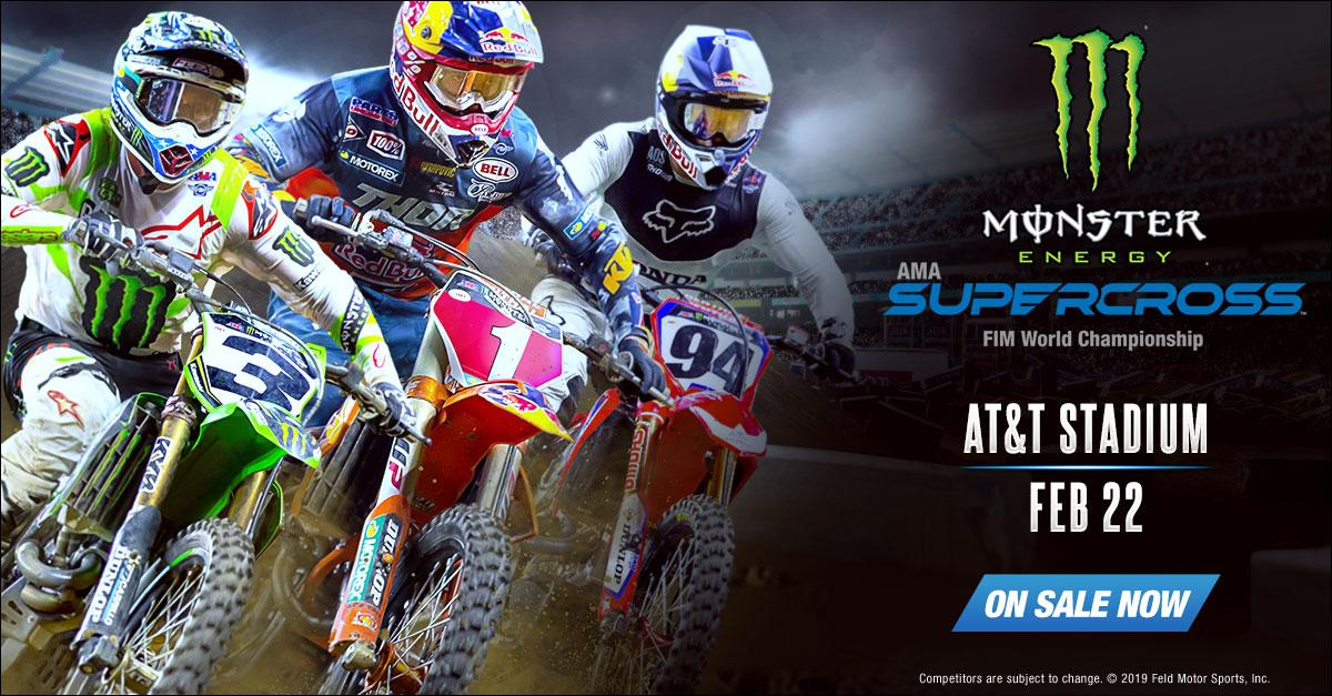 Experience the most competitive and highest-profile off-road motorcycle racing championship, when @SupercrossLIVE returns to @ATTStadium on Saturday, February 22nd! 🔥 Get your tickets TODAY before they sell out → bit.ly/2sNeJ9J