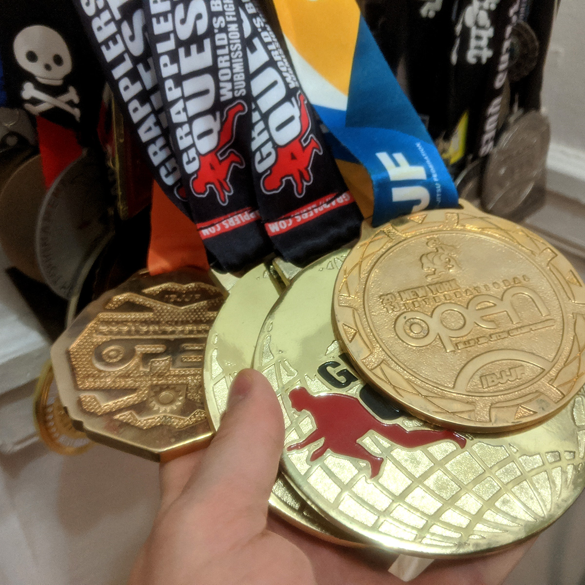 I competed in combat sports my whole life: wrestling, judo, jiu jitsu. Competition taught me that facing fear in all its forms is good for growth. Im getting rid of these medals along with most of my stuff this week. Ill just have to win some new ones in 2020, both judo & bjj.